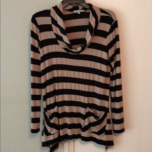 Tan and black striped scoop neck top